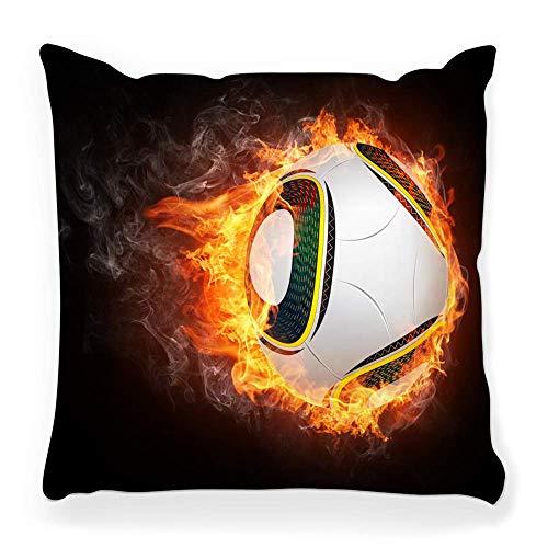 LXJ-CQ Funda de Almohada de Tiro 18x18 Balón de fútbol Fuego Aislado...