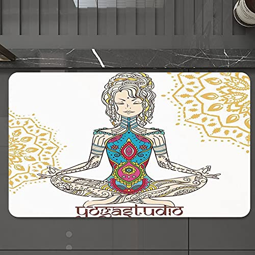 Alfombrilla de Baño Antideslizantes de 50X80 cm,Chakra Decor, Chica en posición de yoga con , Tapete para el Piso Lavable a Máquina con Microfibras Suaves Absorbentes de Agua para Bañera, Ducha y Baño