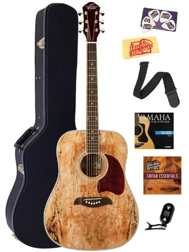 Oscar Schmidt OG2SM Spalted Maple Dreadnought Acoustic Guitar Bundle with Hard Case, Austin Bazaar Instructional DVD, Clip-On Tuner, Strap, Strings, Picks, and Polishing Cloth