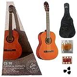 eko cs-10 classic guitar 4/4 bundle pack - chitarra classica natural + borsa leggera di trasporto chitarra + accordatore elettronico + tre plettri nero