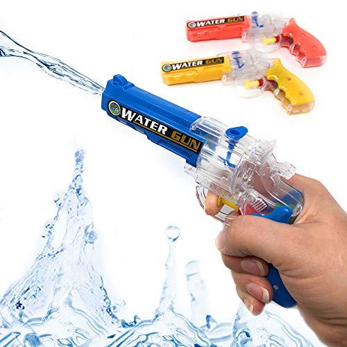 DDS Wasserpistole Spielzeug Spritzpistole 3er Set - Kleine Wasserpistolen mit großer Reichweite ohne pumpen | Mitgebsel für Kindergeburtstag in DREI Farben | Super Revolver Blaster Wasserspritze
