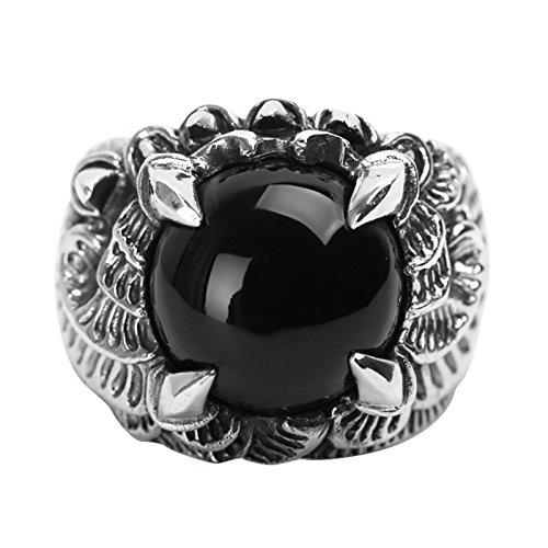 Blisfille Silber Ringe 925 Herren Ring Herren Mit Gravur Silber Ring Aus 925Er Silber Mit Tierklauen Achatfür Herren Gr. 64 (20.4)