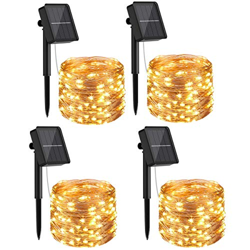 [4 Pack] Litogo Solar Fairy Lights Outdoor, 12m 120 LED Solar Garden Lights 8 Modes Waterproof Copper Wire Decorative Solar String Lights for Garden, Patio, Gate, Yard, Wedding, Party (Warm White)