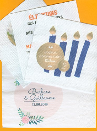 400 serviettes Blanches 40x38 Ouate 2 plis, imprimées couleur quadri
