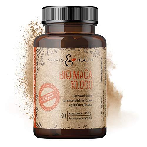 Bio Maca - 10.000mg Bio Maca Kapseln je Tagesdosis - 60 Kapseln - Zusatzstofffrei - Zertifiziertes Hochdosiertes Bio Maca - Vegan