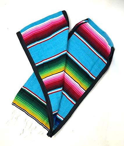 Mexican Poncho Unisex Bright Striped Cotton Mexican Blue