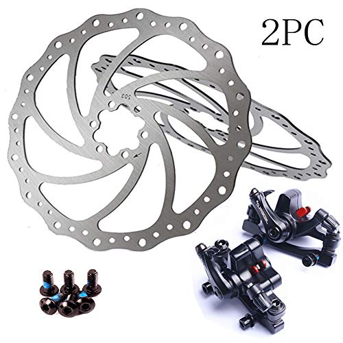 BUCKLOS 【US Stock】 2PC Bike Disc Brake Rotor with Mechanical Disc Brake MTB Front Rear Caliper, Bicycle Brakes Stainless Steel Rotors 140mm 160mm with 12PC M5 Screws, fit Mountain Road Bikes MTB BMX.