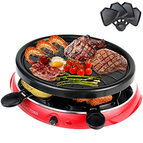 Raclette 4 Personas - Raclette Grill 4 Personas con 4 Mini Sartenes Raclette Grills Parrilla Parrillas Eléctricas 2 6 8 Raclette Grill queso - 900 W