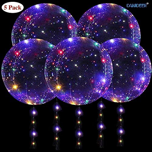 DANIDEER Led BoBo Balloons ,18 Inch 5 PCS Transparent Helium Balloons with String Lights, LED light up Balloons for Birthday, Indoor or Outdoor event, Wedding, Christmas and Party Decoration (colorful