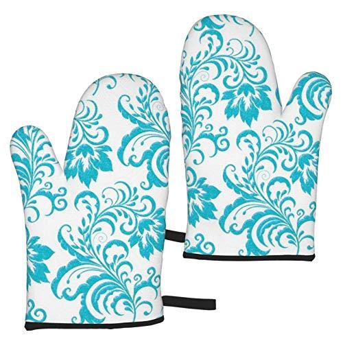 zsxaaasdf Teal Blue Aqua White Damask Floral Oven Gloves,Heat Resistant Non-Slip Kitchen...
