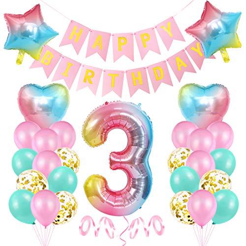 3er Cumpleaños Globos, Decoración de cumpleaños 3 Rosa, Feliz cumpleaños Decoración Globos 3 Años, Foil Globo Número 3 Rosa, Globos de Aluminio para Niñas, Globos Confeti Aluminio para Fiestas