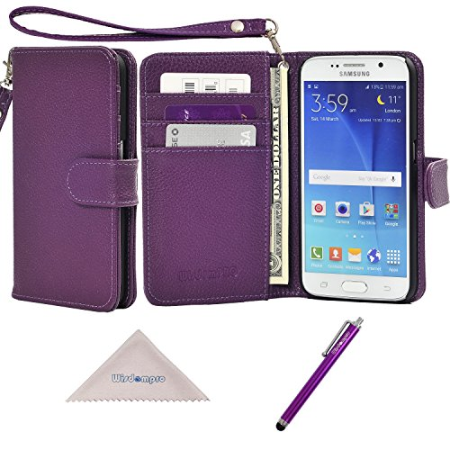 S6 Case, Wisdompro Premium PU Leather 2-in-1 Protective Folio Flip Wallet Case with Credit Card Holder Slots and Wrist Lanyard for Samsung Galaxy S6 - Purple