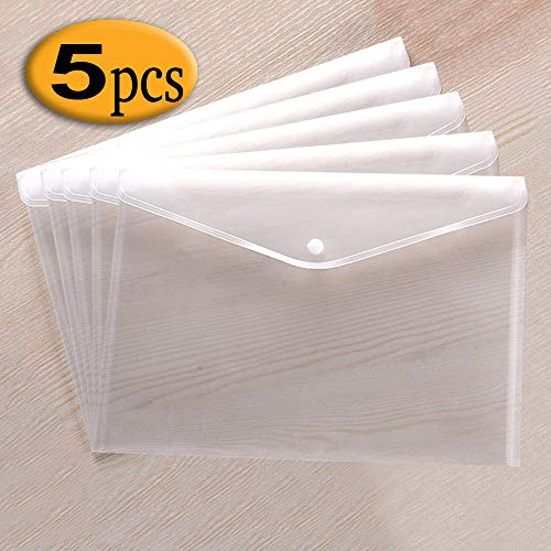 Szjias 5pcs Clear Waterproof Plastic Envelopes Folders Premium File Holder Filing Document Poly Envelope with Snap Button Closure for A4 Letter Paper Size (White)