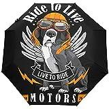 Hippie Dog Puppy Summer Ride Bike Motor Ombrello con apertura automatica Ombrellone con pioggia Anti UV pieghevole Ombrello automatico compatto