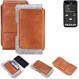 K-S-Trade® Schutz Hülle Für Doro 8031C Gürteltasche Gürtel Tasche Schutzhülle Handy Smartphone Tasche Handyhülle PU + Filz, Braun (1x)