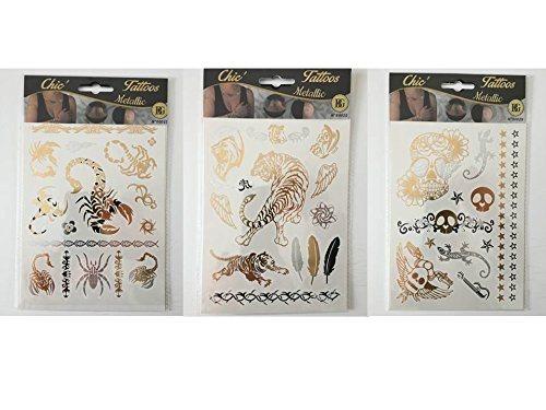 3 lots de Tatouages métal - Tattoos métallic éphémères - 3 planches de tattoos multiples de 14 x 19 cm