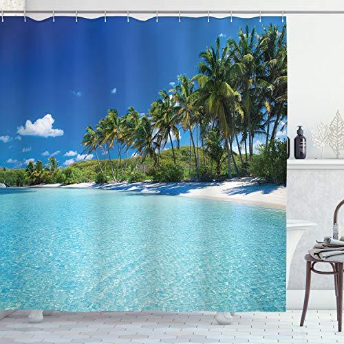 ABAKUHAUS Duschvorhang, Relax Beach Resort Spa & Palmen Strand Ferien Klarer Sonniger Tag Klares Wasser Foto Druck, Blickdicht aus Stoff inkl. 12 Ringen Umweltfre&lich Waschbar, 175 X 200 cm