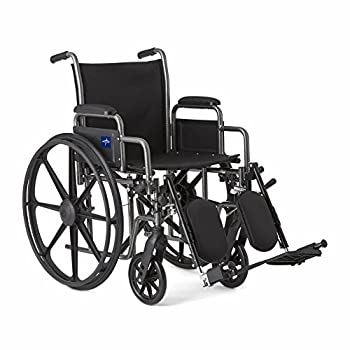"""Medline Comfort Driven Wheelchair with Removable Desk Arms and Elevating Leg Rests 18"""" Seat"""
