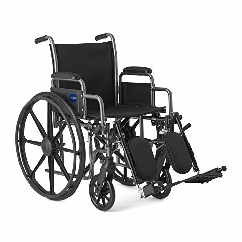 "Medline Comfort Driven Wheelchair with Removable Desk Arms and Elevating Leg Rests, 18"" Seat"