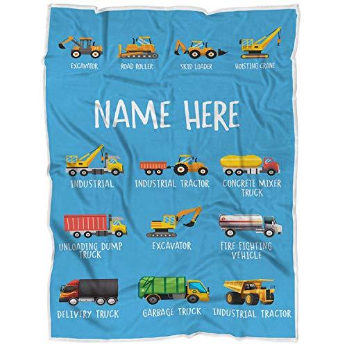 "VOTANTA Personalized Custom Name Dump Truck Bulldozer Fleece Blankets for Boys Girls Kids Baby Toddler Construction Tonka Trucks Tractor Firetruck Garbage (50""x60"" Child)"