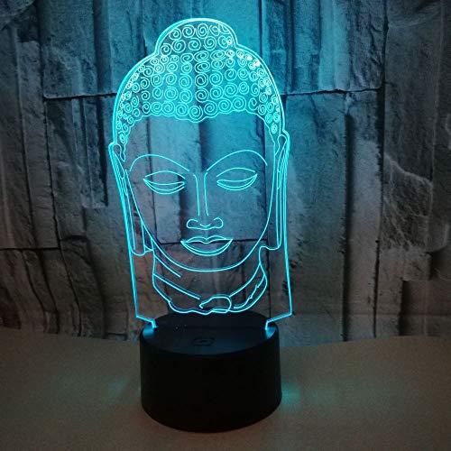 Lampe der Nacht 3D, Buddha-Bild, Notenverdunkelung, LED-Lampe, kreativ, Feriengeschenkauftrag