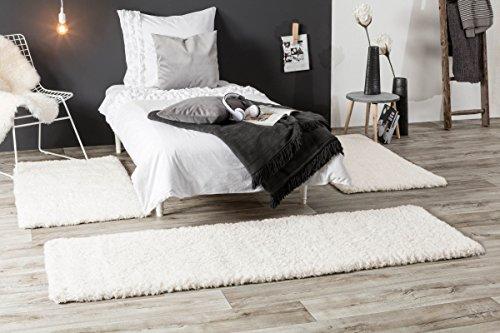 Luxor Living Shaggy Bettumrandung Crema für Wohnzimmer, Schlafzimmer | Hochflor Langflor in Weiß, auch in Rund (3-teiliges Set, Weiß)
