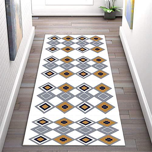 JIAWDYJ Almacén Antideslizante Grueso Suave Lavable alfombras de la Puerta de la Puerta del Corredor del Pasillo Interior del Hall de la Cocina del Piso Alfombra,White,80X300cm(2.6X9.6ft)
