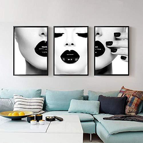 zszy Frauen mit schwarzen sexy Lippen Poster und Drucke Moderne Fotografie Wandbilder für Wohnzimmer Home Decoration Gemälde-40x60cmx3 Stück kein Rahmen
