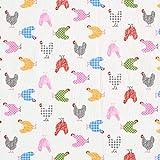 Cretonne Baumwollstoff bunte Hühner – weiss —