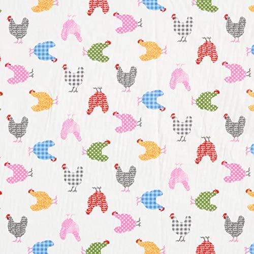 Cretonne Baumwollstoff bunte Hühner – weiss — Meterware ab 0,5m — STANDARD 100 by OEKO-TEX® Produktklasse I — zum Nähen von Bettwäsche, Kissen/Tagesdecken & Tischdecken