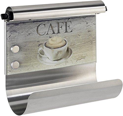 WENKO Wand-Halterung für Küchenrollen und Alufolie, magnetische Pinnwand für die Küche, ohne Bohren, Küchen-Organizer, Motiv Cafè, 35 x 29 x 14.5 cm