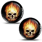 SkinoEu 2 x 30mm 3D Gel Silicona Stickers Pegatinas Adhesivo Calavera Skull Fuego Autos Coches Moto Ciclomotores Bicicletas Ordenador Portátil Tuning KS 3