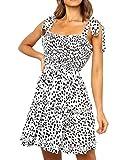 Romanstii Ladies Pleated Casual Short Swing Dress Flare Ruffle Boho Beach Dress Blackless A-line Bow Dress White,XL