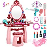 OCATO Kids Toy Vanity Table for Little Girls, Toddler Vanity Set with Mirror, Stool, Sound, Light & Beauty Accessories, Makeup Table for Kids, Girls Vanity Toys for 2 3 4 5 Year Old Girls Pretend Play