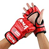 ENZHE MMA Gloves Men Women,UFC,Kickboxing,Sparring,Punching Heavy Bag Gloves for Training (Red)