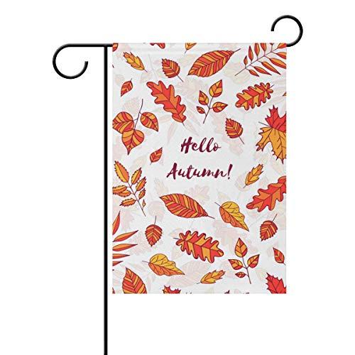 My Little Nest Bandeira dupla face Hello Autumn Leaves House Garden Flag Yard Seasonal Holiday Outdoor Decoração Banner 30 x 45 cm