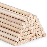 AUSYDE Varillas de bambú para manualidades, 30 cm, 50 unidades de 8 mm, madera redonda para manualidades, bastón de bambú de alta calidad
