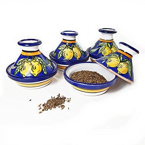 Le Souk Ceramique Mini Serving Tagines, Set of 4, Citronique Design