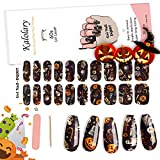 20PCS Semi Cured Gel Nail Polish Strips, Kalolary Halloween Full Cover Real Gel Nail Stickers Self Adhesive Gel Polish Decals for Women Girls DIY Nail Art Decorations Salon Home(UV/LED Lamp Required)