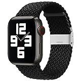 Intrecciato compatibile con cinturino Apple Watch 38mm / 40mm Elastico sportivo regolabile in nylon Elastico sostituibile cinturino Apple Watch per uomo donna per iWatch Series 6 5 4 3 2 1 SE (Nero)