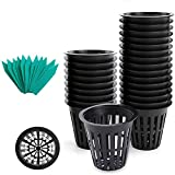 3 hydro net pot - SYOURSELF Nursery Pots 50 Pack 3 inch net Pot, Garden Slotted Mesh Plastic Plant Net Cup with 50 Plant Labels, Heavy Duty Wide Lip Round Bucket Basket for Hydroponics(Black)