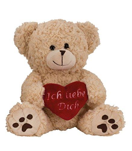 Geschenkestadl Plüschtier Bär in Creme Weiss ca. 25 cm mit rotem Herz Ich Liebe Dich Kuscheltier Stofftier Teddy