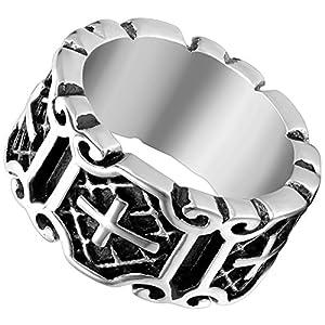 Flongo Herrenring Männer Ringe Daumenring Bandring Siegel Ring, Edelstahl Ring Silber Schwarz Kruzifix Kreuz Bewegend Retro Punk Rock Herren