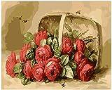 Pintura al óleo de DIY sobre lienzo arte cesta vintage rosas lscape- (40x50cm) -Marco de madera