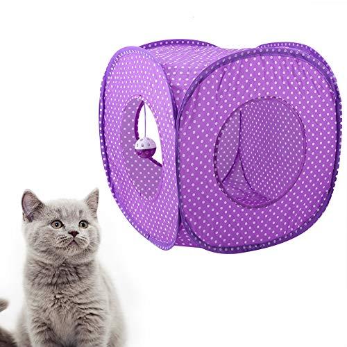 OhhGo Faltbares Katzen-Dot-Zelt, langer Tunnel, Bett-Spielzeug, interaktives Spiel-Spielzeug, Versteck-Tunnel