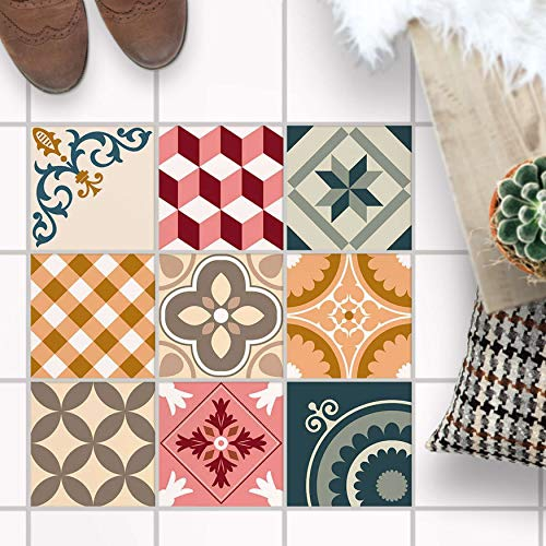 PVC Klebe-Fliesen für - [ Boden Fliesen ] - Aufkleber Folie Sticker für Boden-Fliesen - Küche oder Bad I Fliesensticker als Alternative zu Fliesenlack I 20x20 cm - Design Swedish Tiles