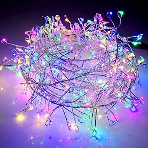 Guirnalda de 200 luces LED solares de hadas con 8 modos, impermeable, para Navidad, jardín, patio, boda (colorido)