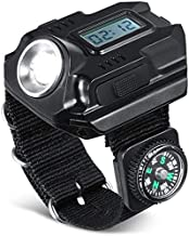 Portable Lightweight Super Bright Wrist LED Light Flashlight, Watch Rechargeable Electronic Watch with Display with Compas...
