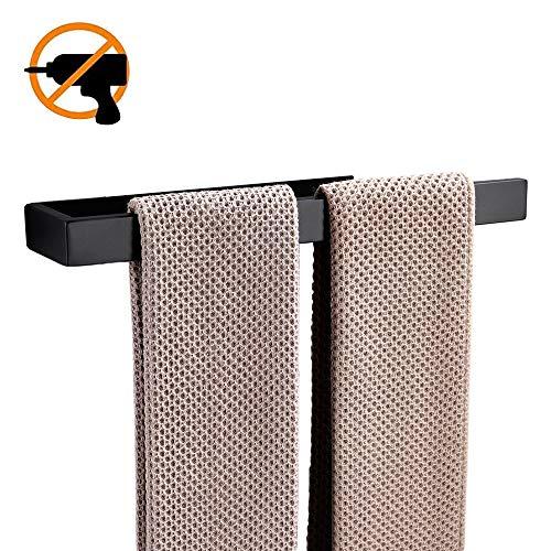 Celbon Spiegel 35cm Schwarz Bad Handtuchhalter ohne Bohren Edelstahl Handtuchstange Handtuchhalter Selbstklebend Poliert Finish