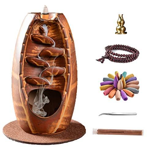 CHNB Rückfluss Räuchergefäß, Wohnkultur Räucherstäbchenhalter Keramik Aromatherapie, Mit 140 Rückfluss Räucherkegel + 120 Räucherstäbchen